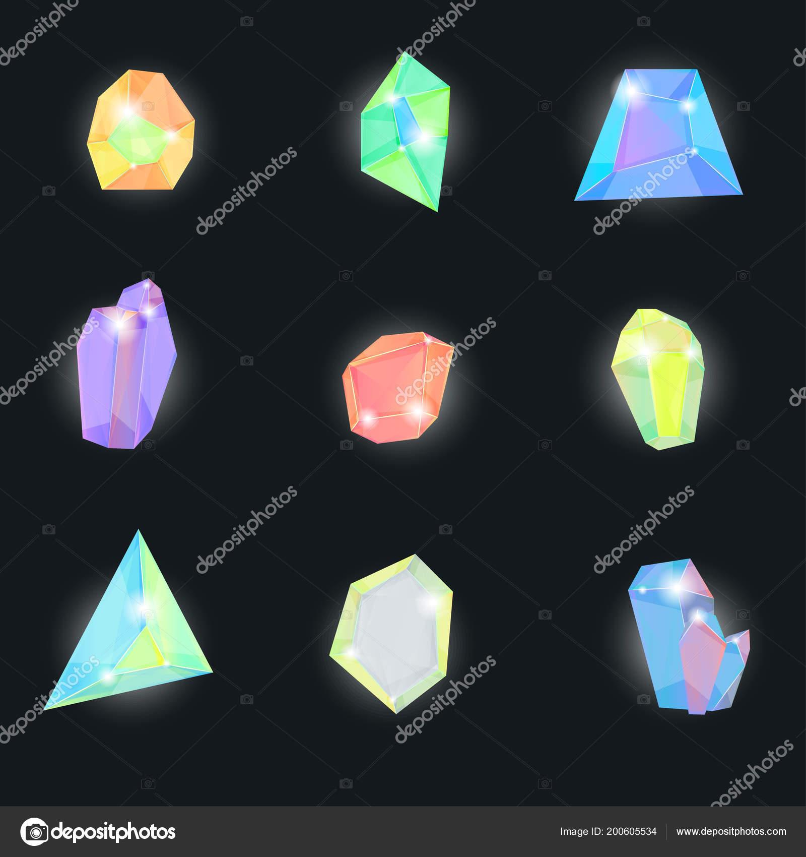 1a5d0c76a365 Realista 3d detallada piedra cristalina de Color establecido sobre un fondo  negro minerales gemas para joyería. Ilustración de vector de la piedra  preciosa ...