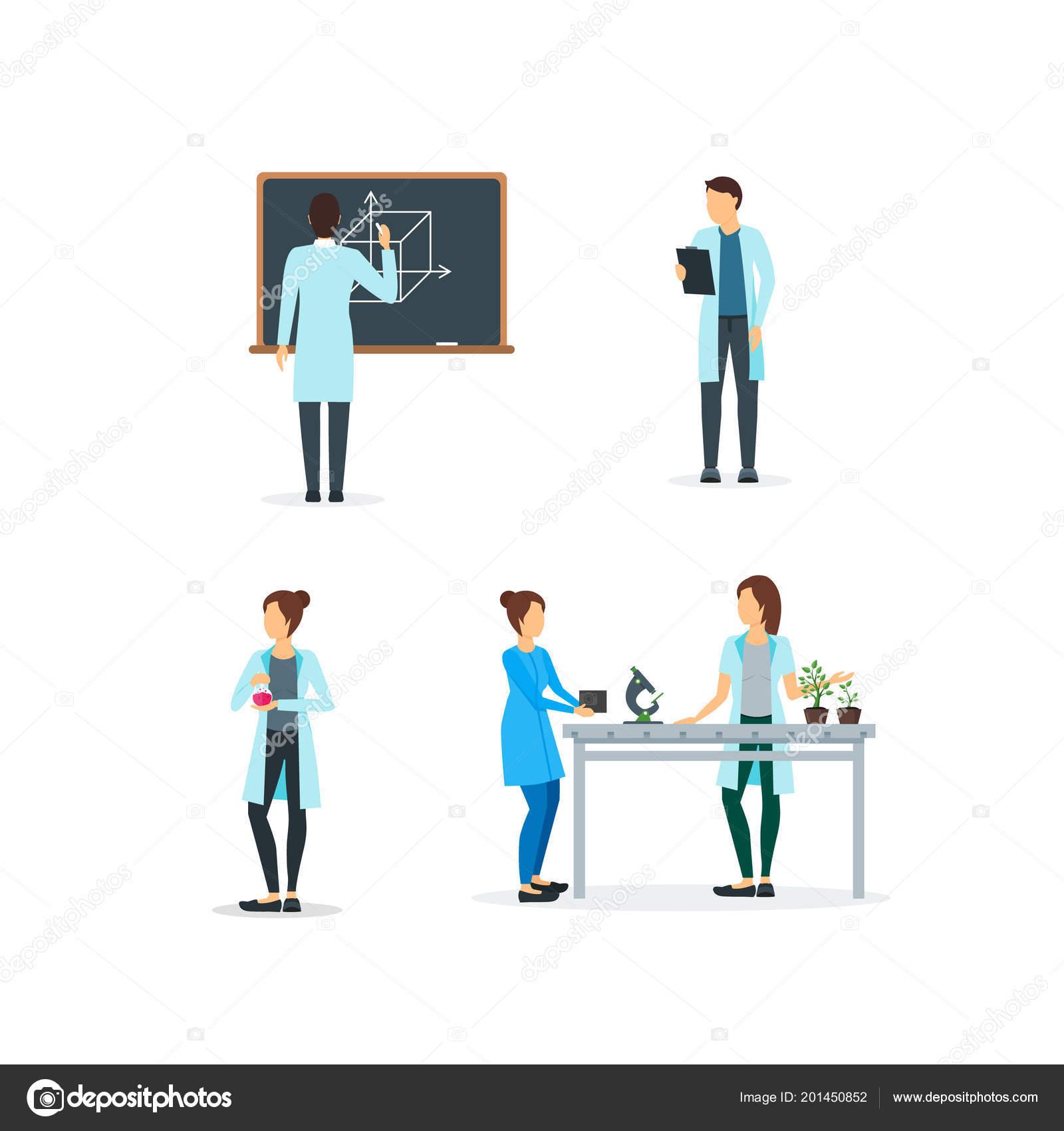 Cartone animato biologi chimici e fisici insieme vector