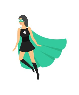 Cartoon Female Superhero Character. Vector