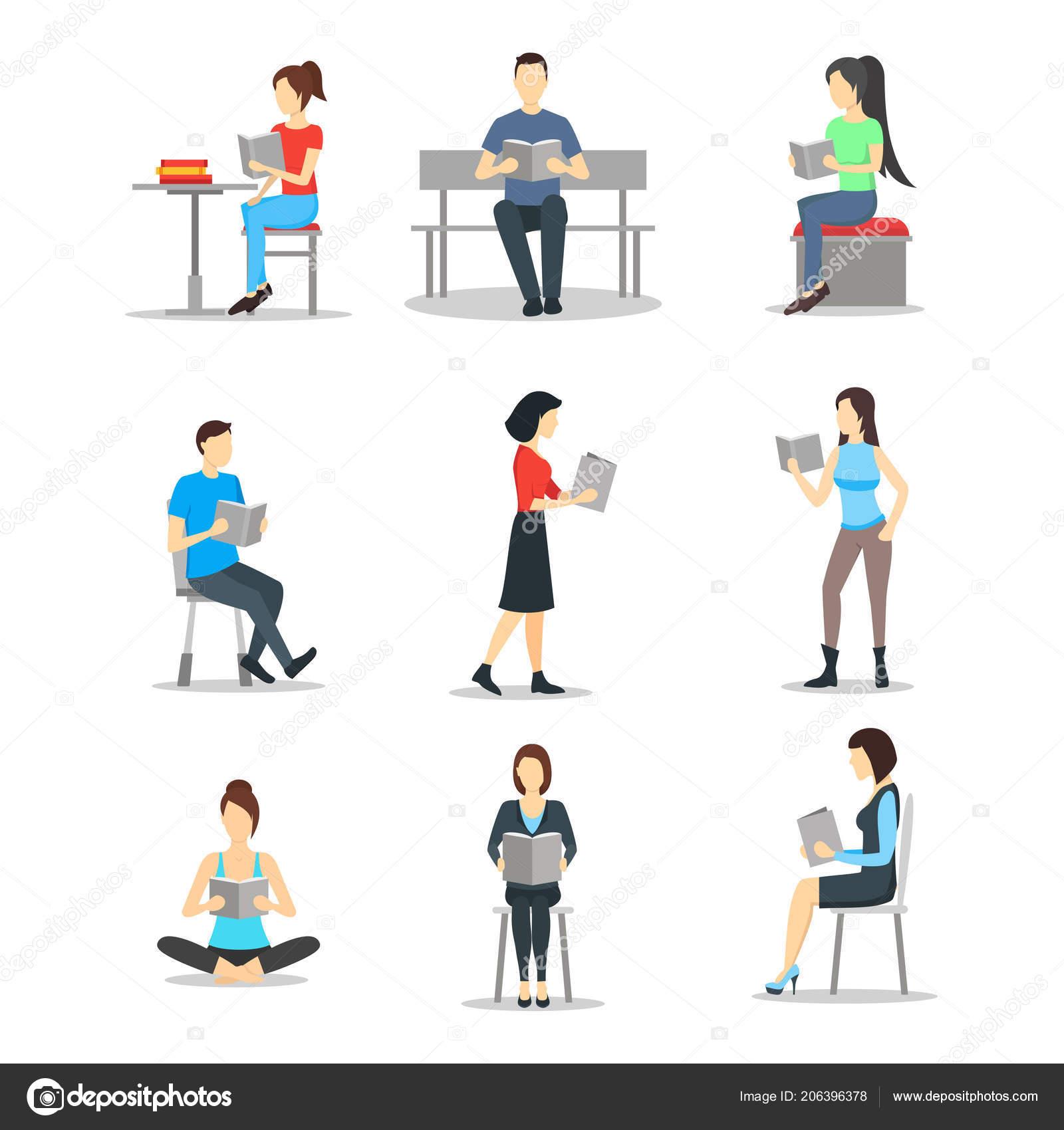 Cartoon Charaktere Personen Männlichen Und Weiblichen Lesen Bücher