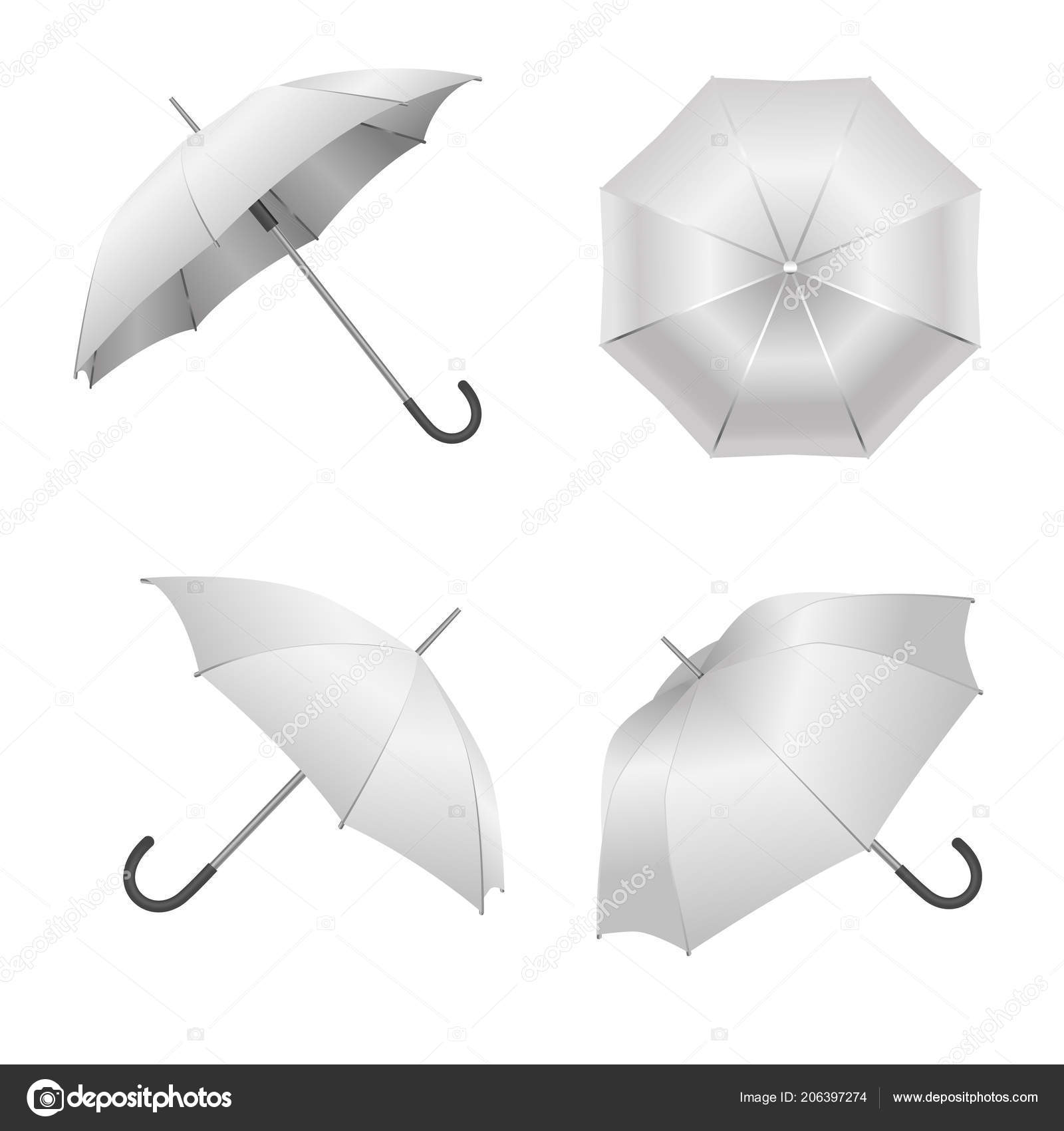 Realistic Detailed 3d White Blank Umbrella Template Mockup Set