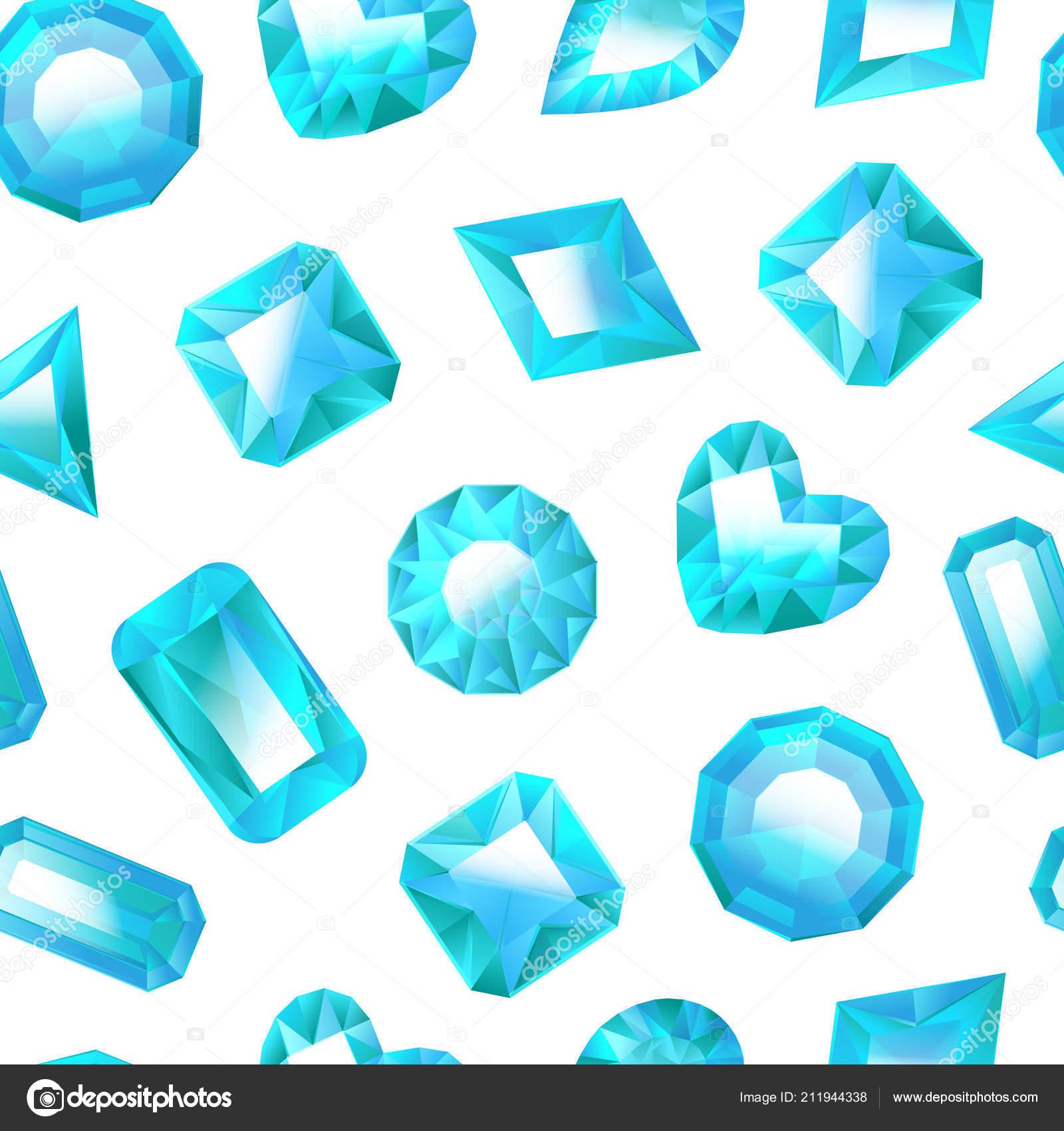 7aeb70f31111 Realista detallada 3d joyas azul transparente de fondo sobre un blanco  diferente tipos de gema o cristal para la joyería de lujo. Ilustración de  vector de ...