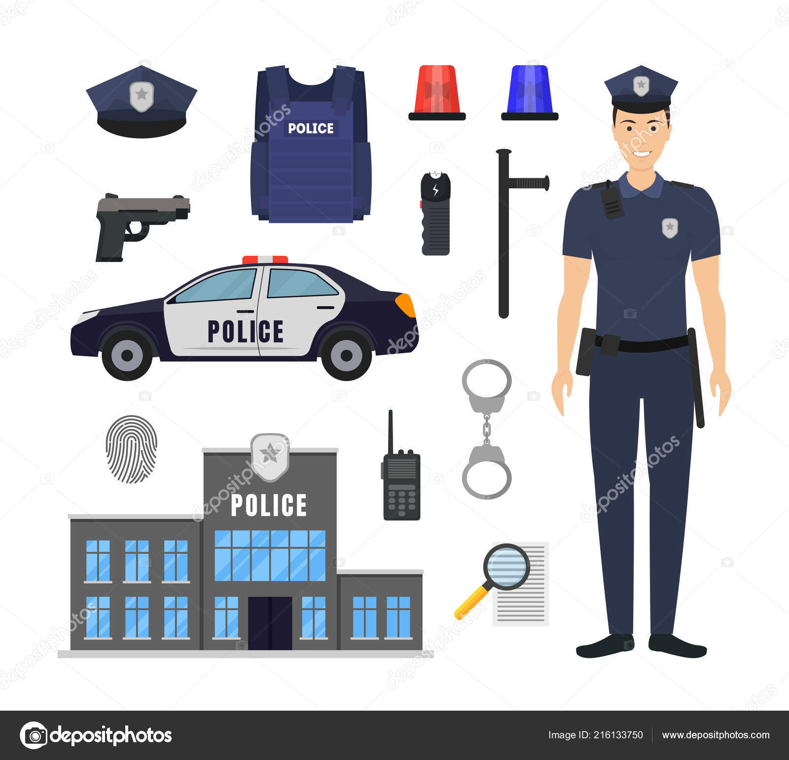 43975f75db1 Cartoon Color Policeman and Police Elements Icon Set. Vector — Stock ...
