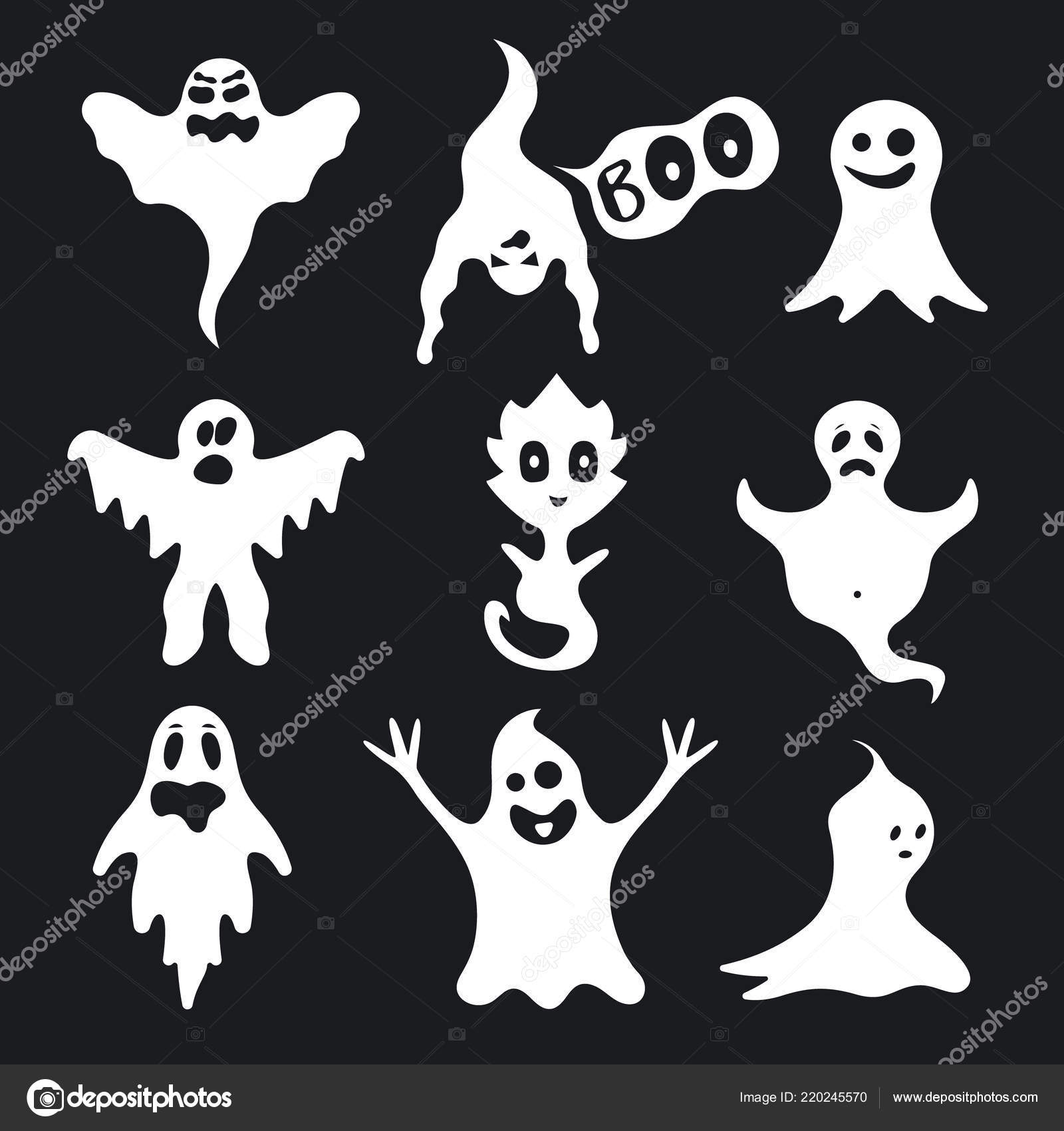 black and white cartoon characters names cartoon ghosts names | cartoon white ghosts characters set