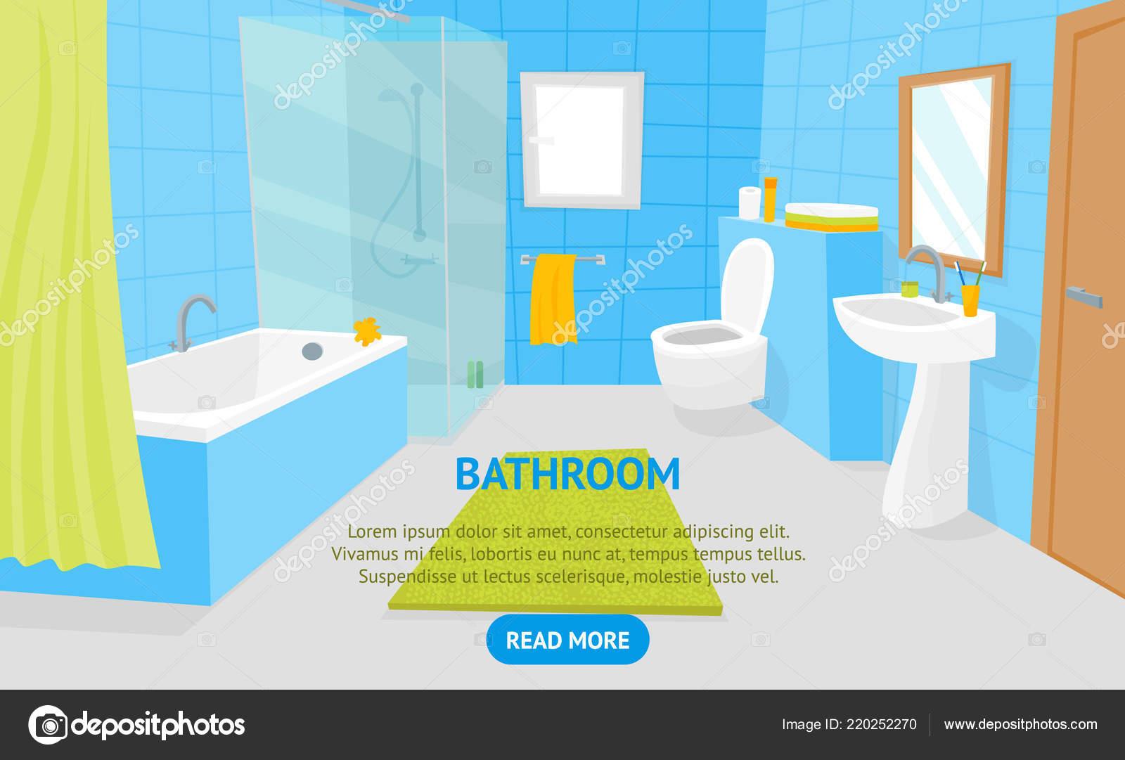 Dibujos animados baño Interior con muebles tarjeta cartel ...