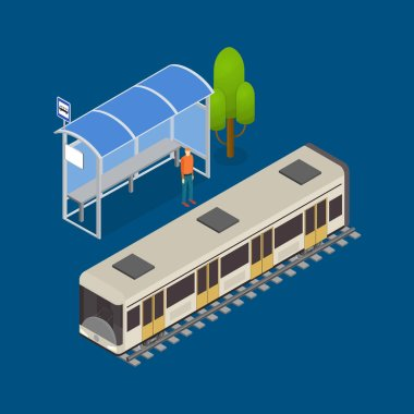 City Public Transport Modern Train 3d Isometric View. Vector