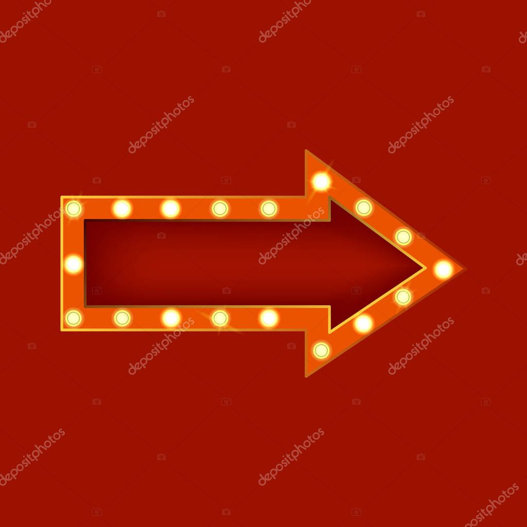 Realistic Detailed 3d Glowing Sign Arrow. Vector