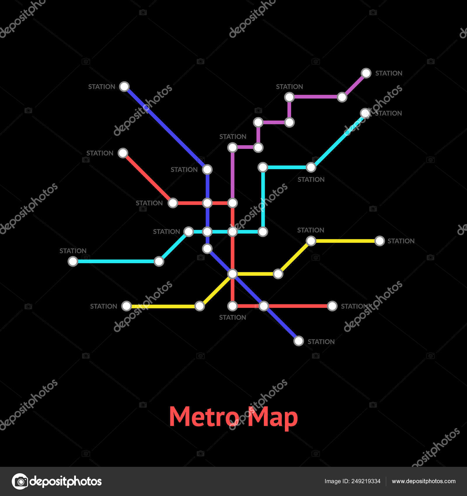 Cards With Subway Map.Metro Map Sign Color Line Card Vector Stock Vector C Bigmouse