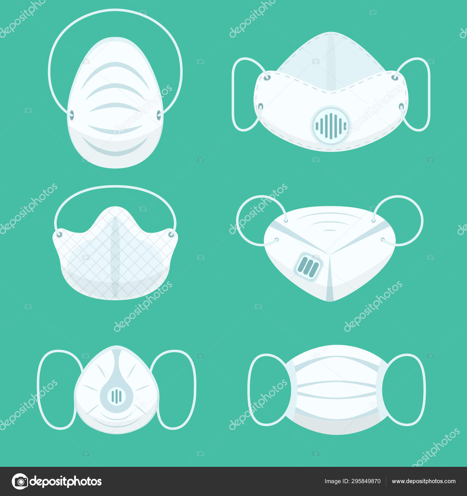 Stock Cartoon Icon Face Vector Set Pollution White Mask —