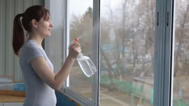 Junge Frau Fensterputzen mit einem Reinigungsmittel und ein blaues Tuch