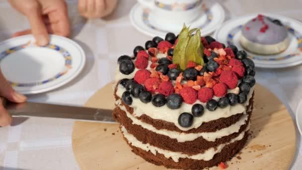 Žena krajíce narozeninový Domácí čokoládový dort a položí ji na talíř, s rukama uzavřeným.