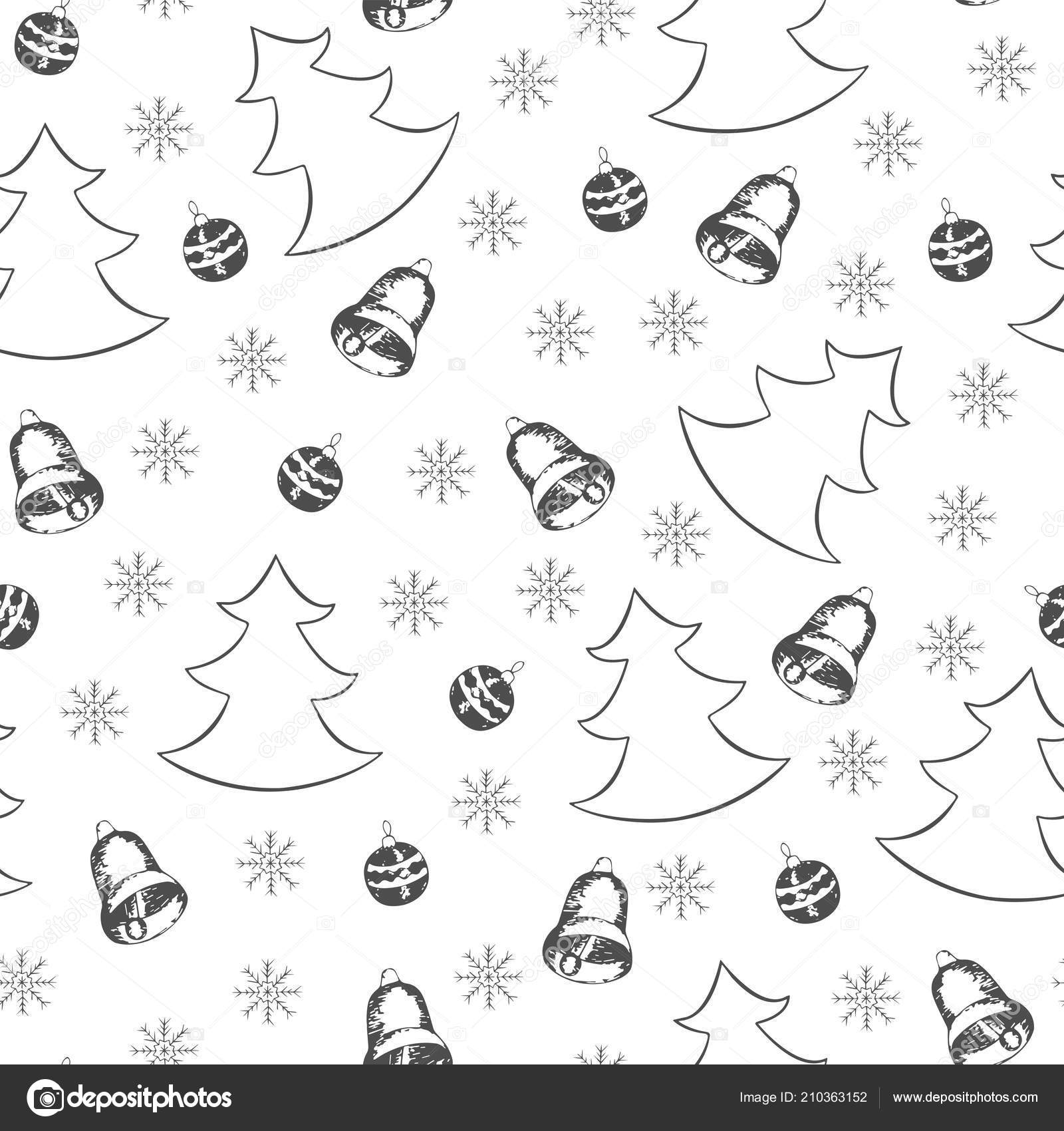 Seamless Winter Pattern Christmas Trees Snowflakes Christmas Bells