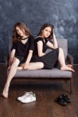 Portrait  of two beautiful teenage girls.