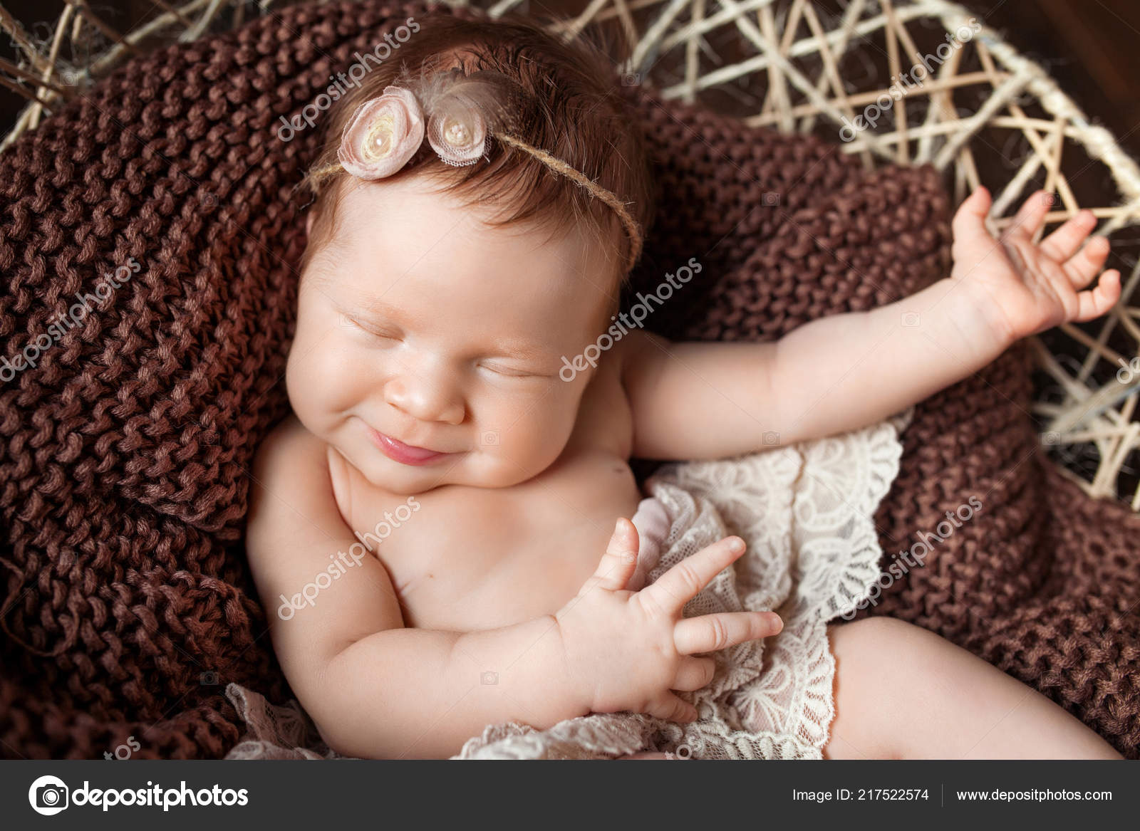 Sweet smiling newborn baby girl newborn girl 3 weeks old lying photo by liudmila fadzeyeva gmail com