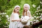 Fotografie Zwei schöne junge Mädchen mit weißen Kaninchen im Frühling blühen Garten spielen. Frühling Spaß Aktivitäten für Kinder. Osterzeit
