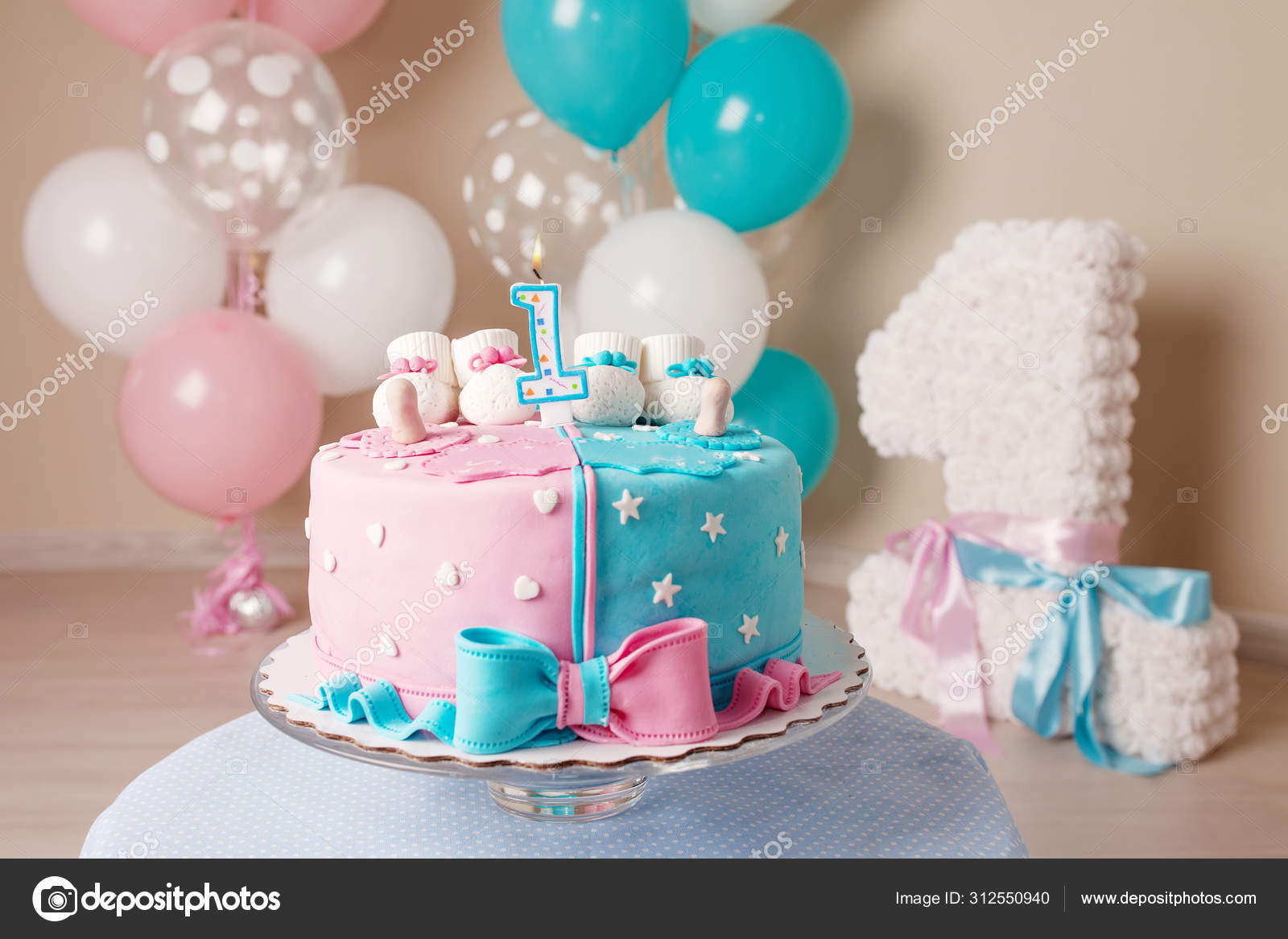Brilliant Colorful Decoration Of A First Year Birthday Cake For Twins Hap Funny Birthday Cards Online Alyptdamsfinfo