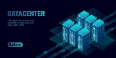 Isometric datacenter cloud computing storage concept banner. Site hosting big data processing rack rent. Mainframe computer network system server farm mining 3d neon dark design vector illustration