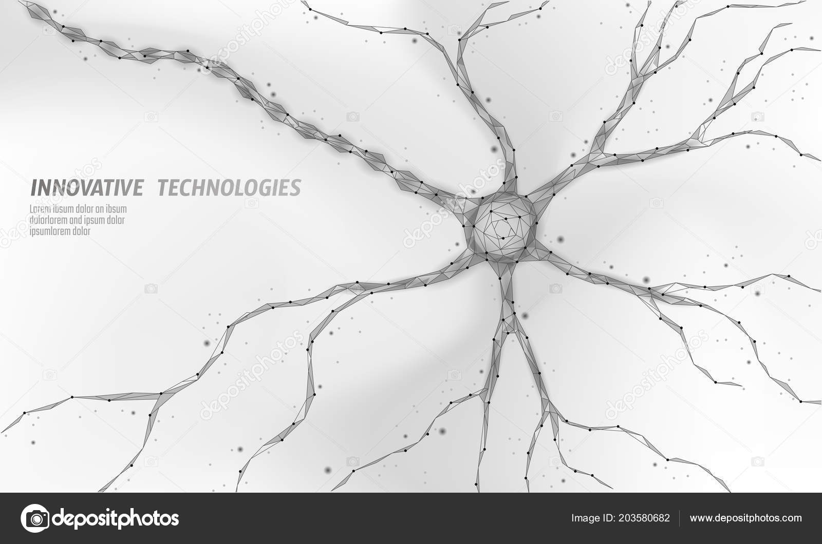 Human neuron low poly anatomy concept. Artificial neural network ...