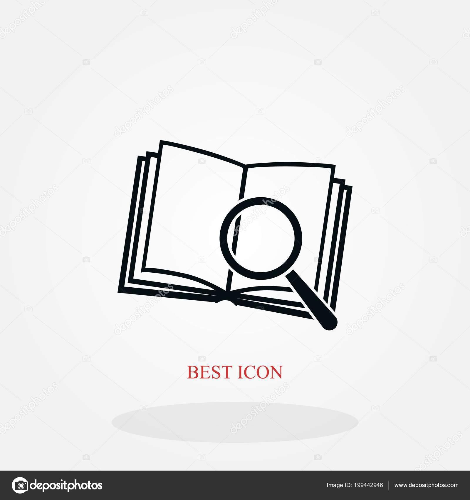 Pictogramme Livre Loupe Verre Icone Design Plat Meilleur