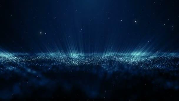 Részecskék kék bokeh por absztrakt könnyű mozgást címek filmszerű háttér hurok