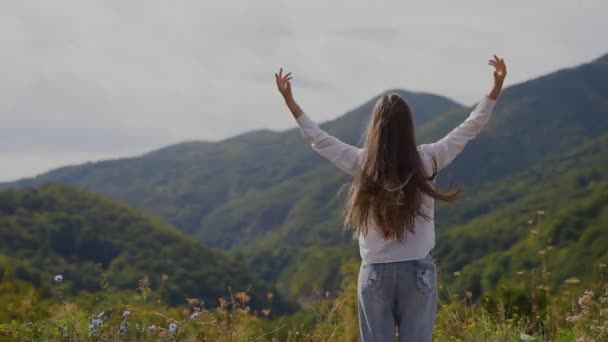 Back view of happy teenage girl on top of mountains.