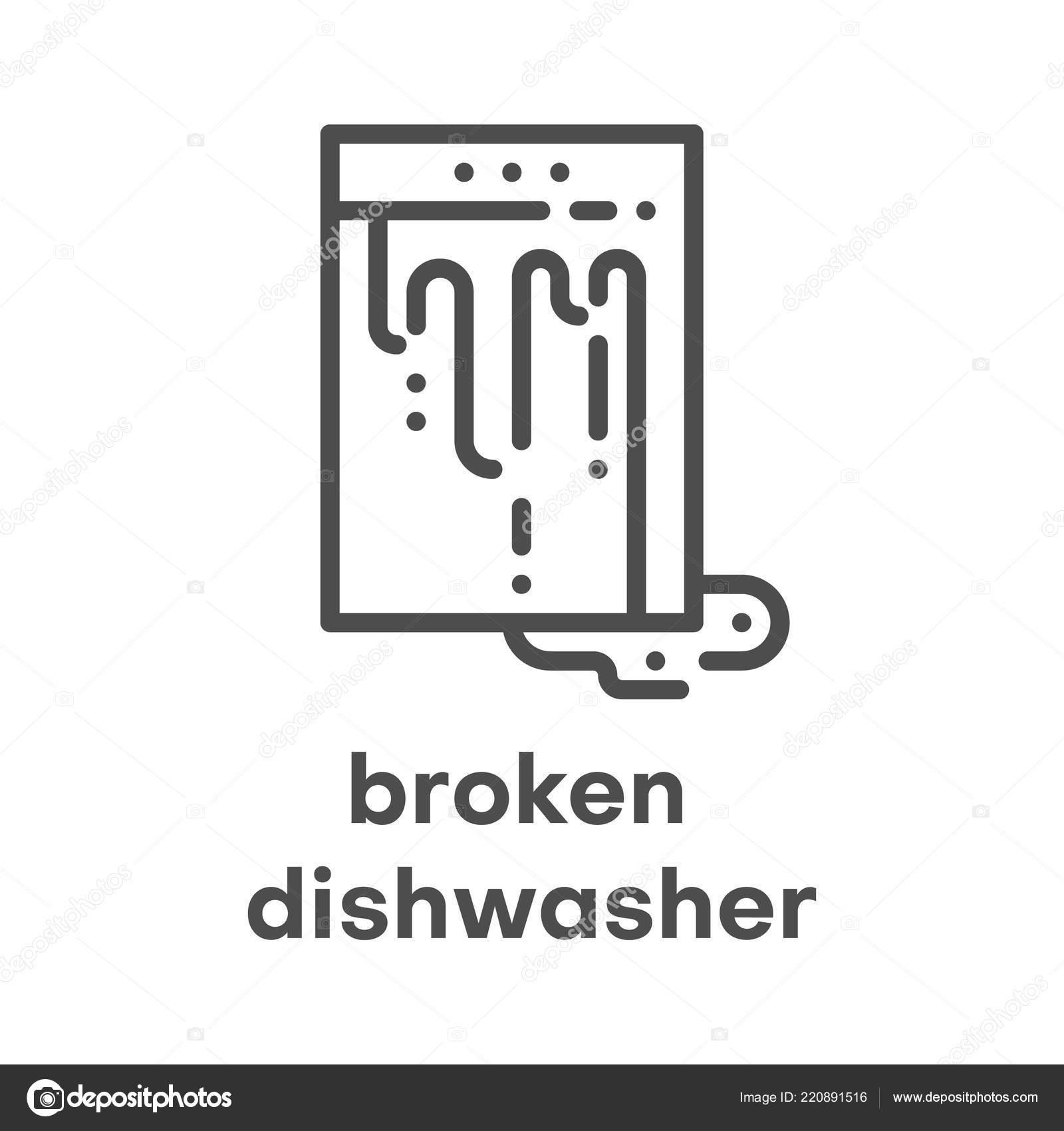 Einfache Moderne Liniensymbol Spulmaschine Zeichen Gebrochen