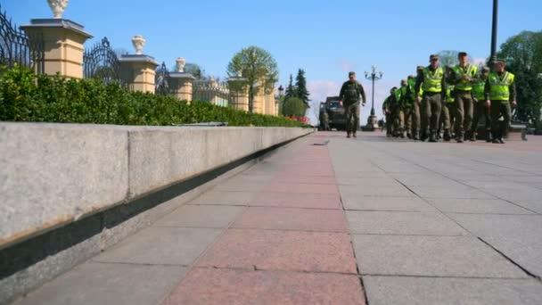 National Guard. Military Troops. Vehicle People. Blue Sky. Konstytucii Square. Mariyinsky Palace. Verkhovna Rada Of Ukraine. Kyiv Ukraine 20 April 2018