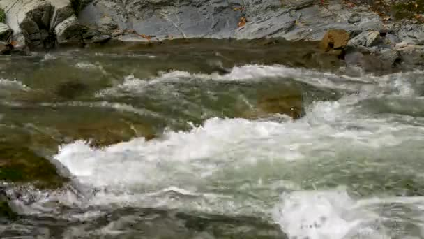 Close-up Mountain River Cascade Waterfall. Water Stream Rocks