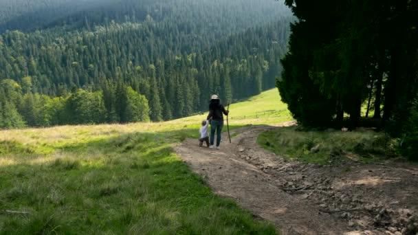 Anya gyermekével, séta le a hegyről. Túrázás a nyári napsütésben a fa. Aktív turizmus