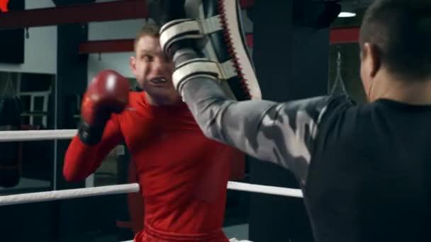 Slow-Motion Muay Thai Boxer Hits Thai Kick Pads.Training im Boxring. Training Leg Kicks