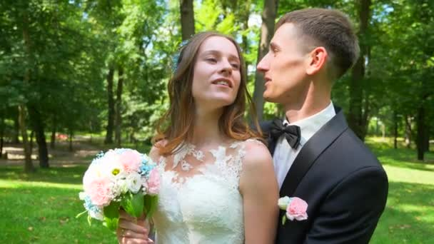 Couple on Nature. Bride and Groom in Park. 2x Slow motion - 0,5 Speed 60 FPS