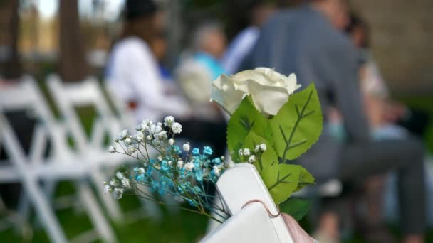 Close-up Wedding Decorations. Bride and Groom Ceremony on Nature. 2x Slow motion - 0,5 Speed 4K 60 FPS