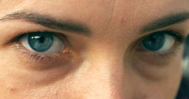 Close-up. Macro Human Female Blue Eyes. Pupil Cornea Iris Eyeball Eyelashes. Blink Open Closed. Outdoors Morning Evening Natural Lighting
