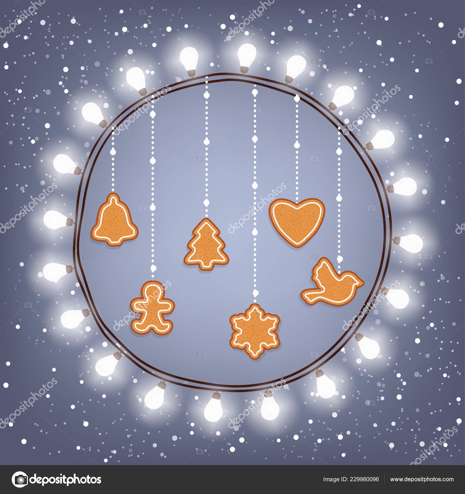 Christmas Card Bright Wreath Light Bulbs Ginger Cookies Snowy