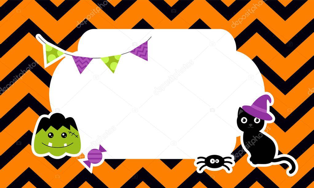 Cute Halloween Background With Pumpkin Bat Ghost Cat Spider Stickers Vector Illustration Premium Vector In Adobe Illustrator Ai Ai Format Encapsulated Postscript Eps Eps Format