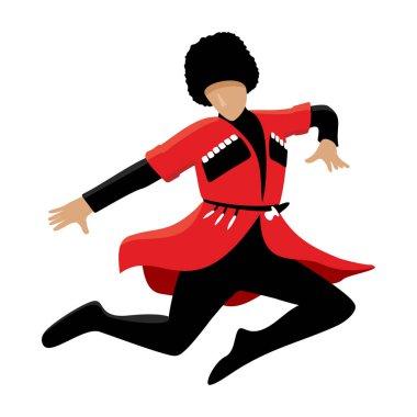 Jumping Caucasian lezginka dancer vector illustration isolated on white