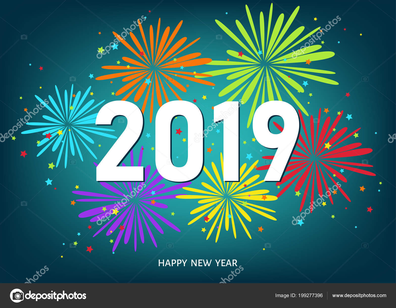 2019 happy new year greeting card blue background colorful fireworks stock vector
