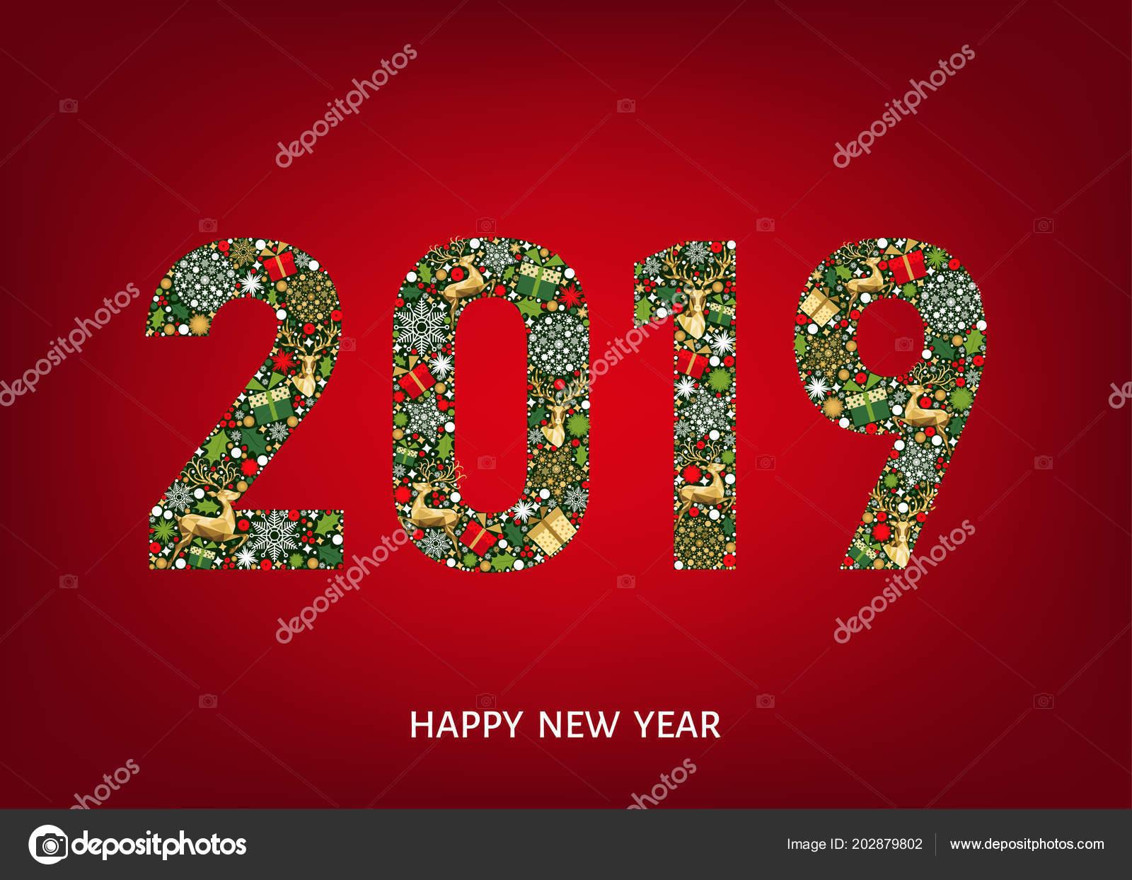Cartolina Auguri Buon Anno 2019 Sfondo Rosso Con Oro Renna