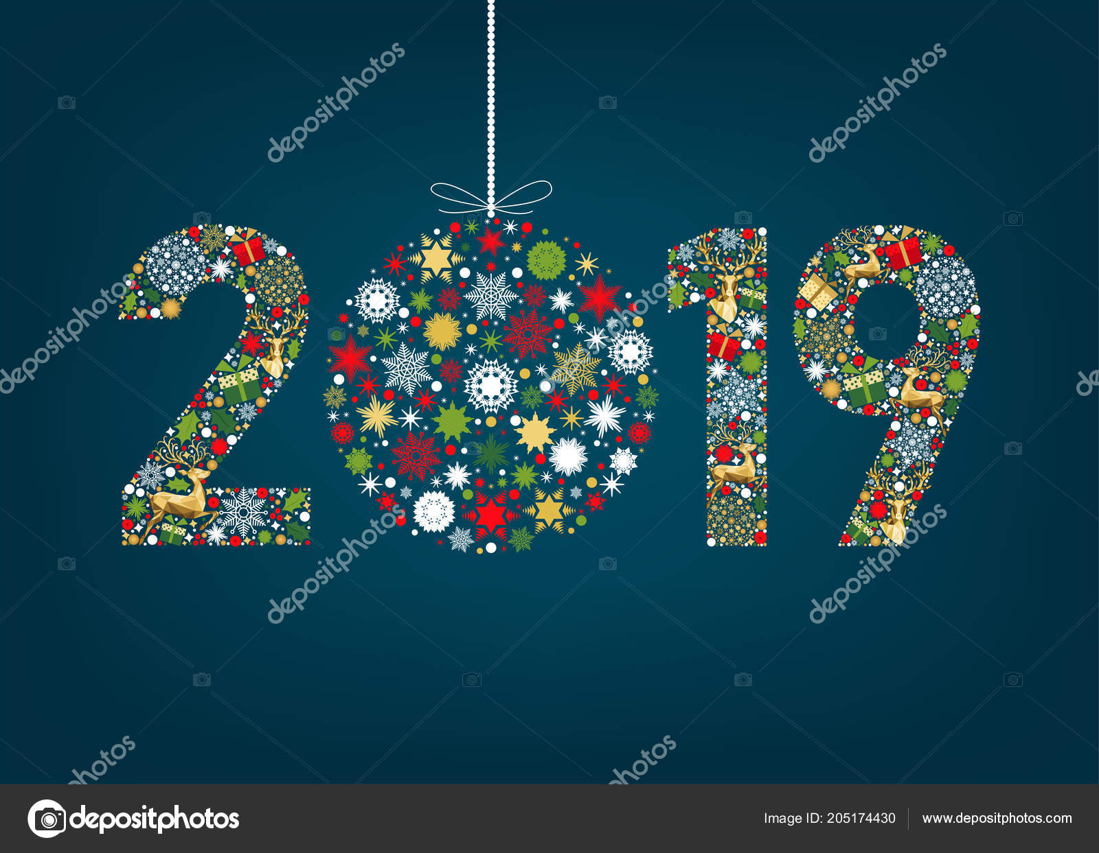 2019 happy new year greeting card blue background gold reindeer stock vector