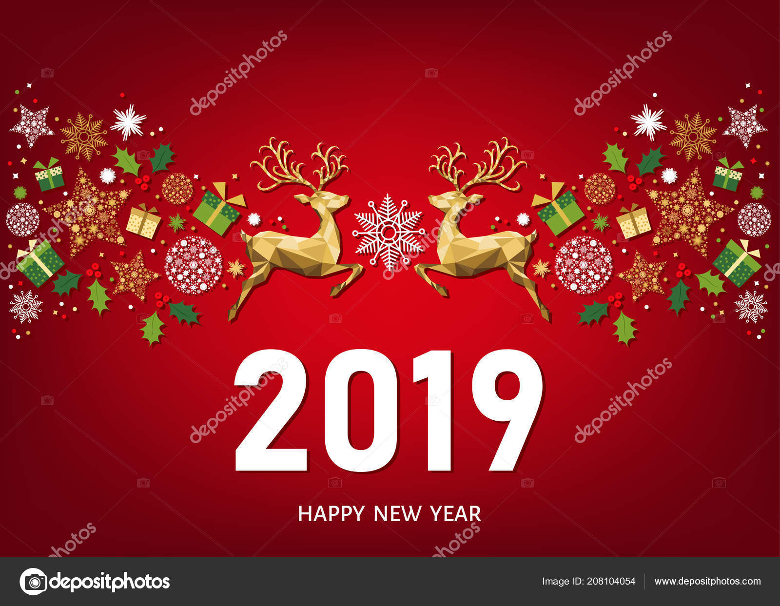 Immagini Auguri Di Natale E Buon Anno.Cartolina Auguri Buon Anno 2019 Sfondo Rosso Con Reticolo Natale
