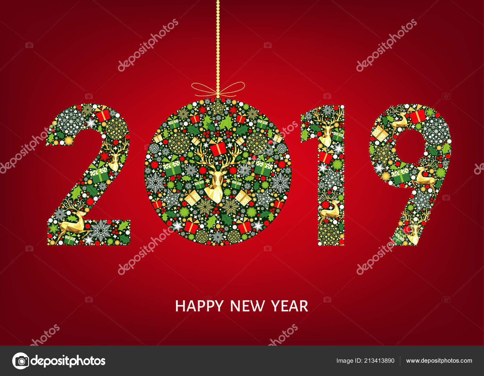 2019 happy new year greeting card on red background with christmas ball with gold reindeer gift boxes and snowflakes colorful ornament vector decoration