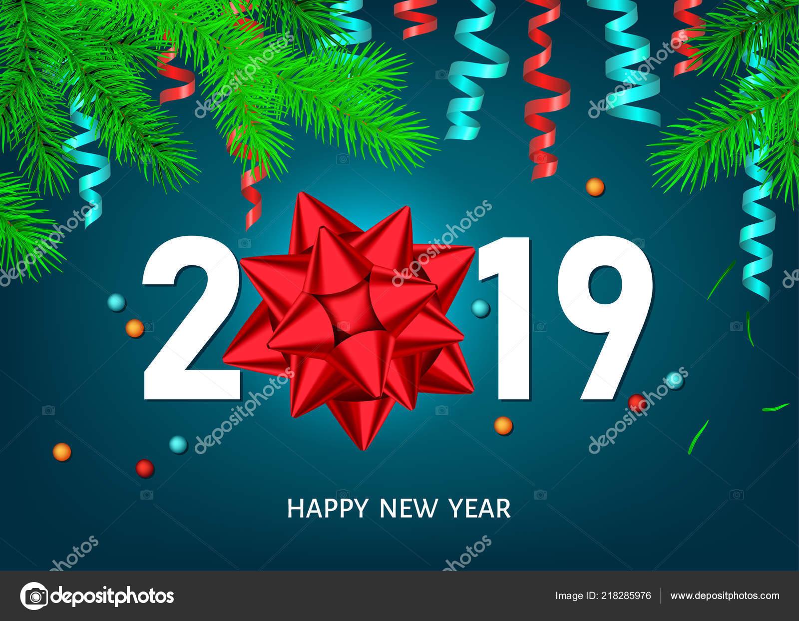 Image De Joyeux Noel 2019.Joyeux Noel Bonne Annee 2019 Fond Avec Branche Bow Ruban