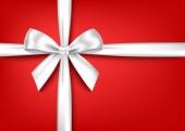 Stříbrná realistické dárek luk s horizontální lištový izolované na červeném pozadí. Vektor holiday designový prvek pro banner, pohlednici, plakát.