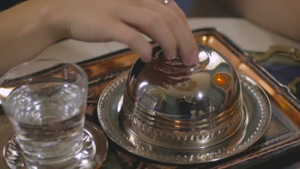 Real Turkish coffee, serving at a restaurant
