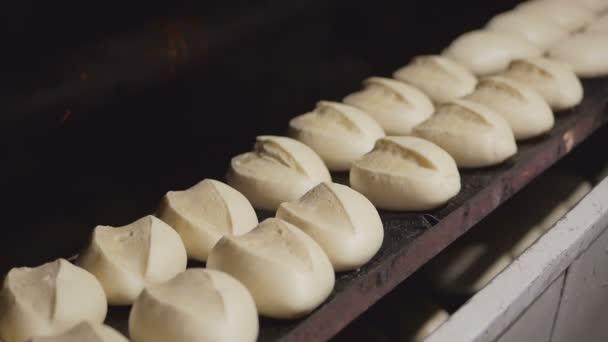 Takže chleba v pekárně. Mnoho bochníků chleba v troubě