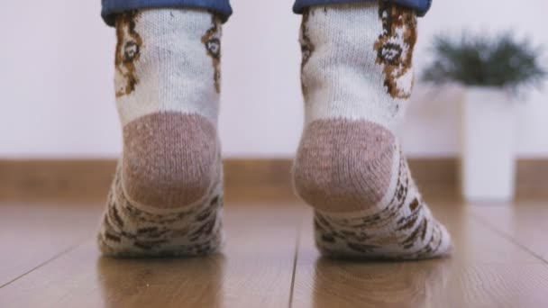 Close-up of womans legs in warm woolen socks doing gymnastics lifting the body up with toes. Back view