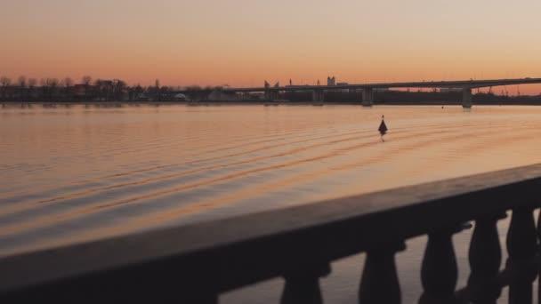 Pohled na řeku v jarní večer. Malebný západ slunce