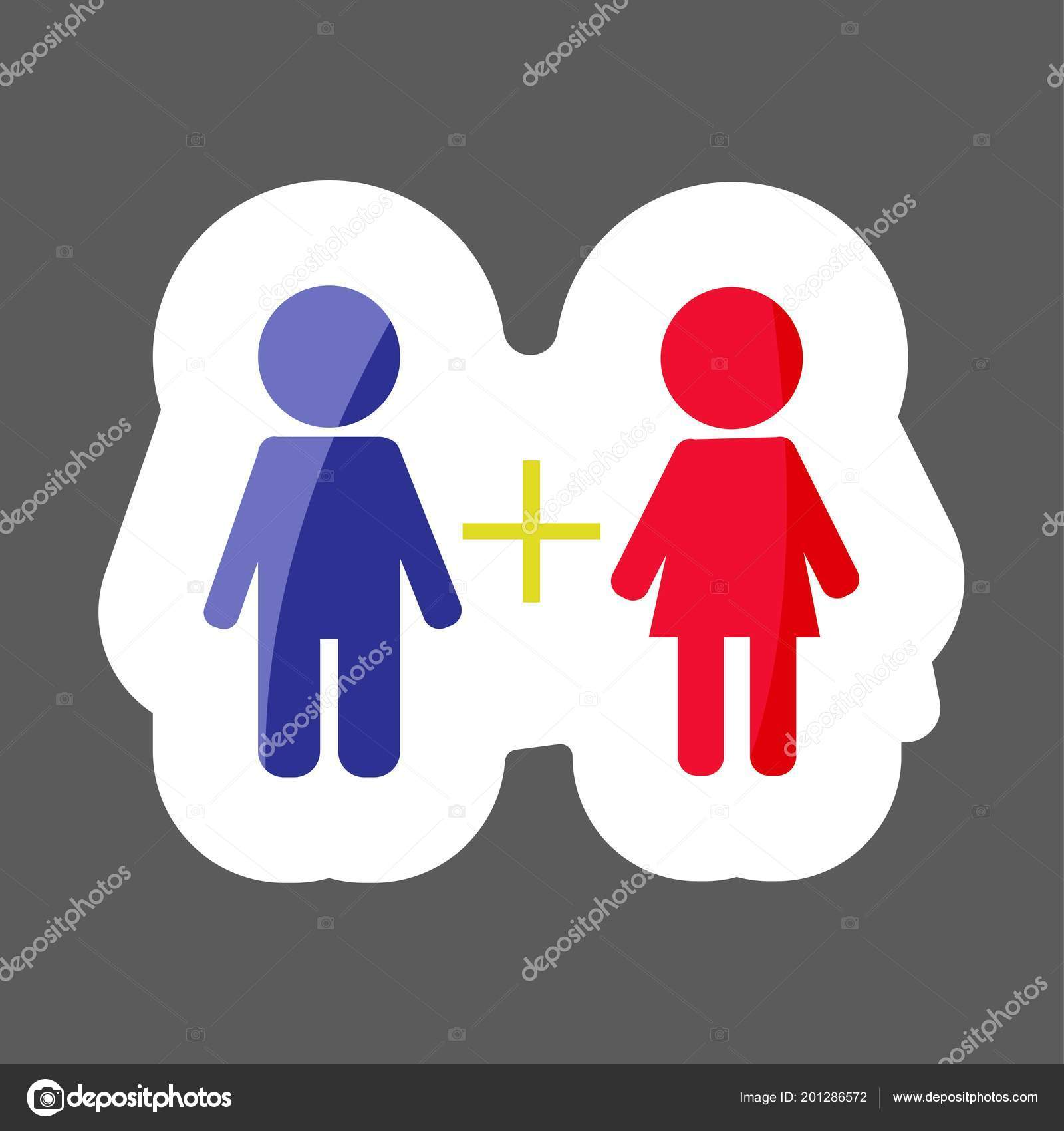 Vector Icon Colored Sticker Friendship Male Female Connections