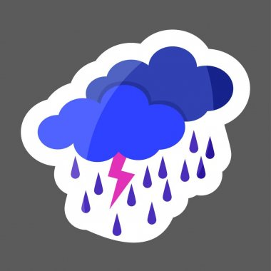 Weather forecast. Clouds of rain and thunder. Cloud thunderstorm.  Vector weathercolored sticker. Layers grouped for easy editing illustration. For your design.