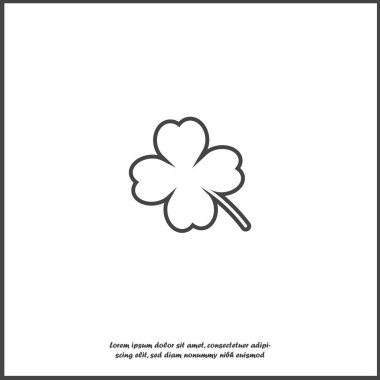 Vector icon four-leafed clover on white isolated background.